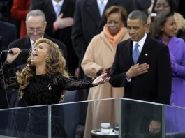 Beyonce sings the U.S. national anthem at President Obama's inauguration in 2013