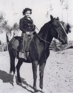 Sandra Day O'Connor as a young girl sitting on a horse (O'Connor family photo)