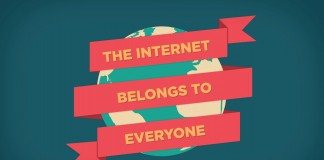 "An image that promotes an open Internet by depicting the globe wrapped in the text, ""The Internet belongs to everyone."""