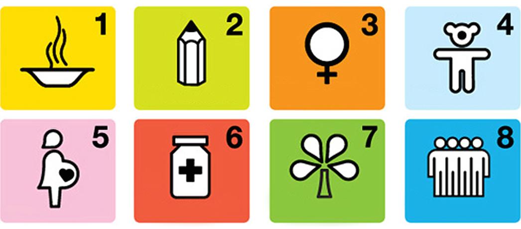 Icons depicting the eight Millenium Development Goals