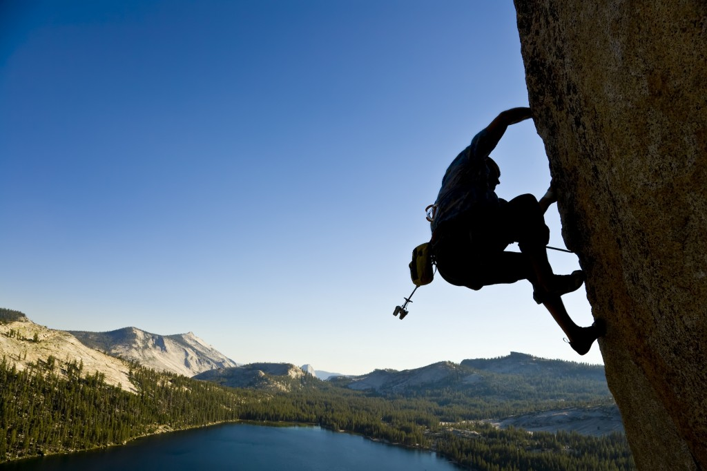 A rock climber in Yosemite National Park