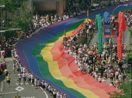 Aerial view of march for LGBT rights