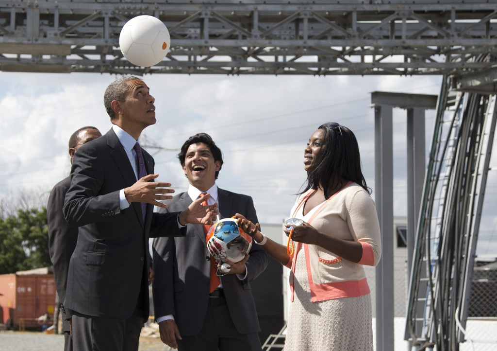 President Obama playing with Soccket ball (AP Images)