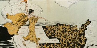 Cartoon of woman holding torch walking over United States (Hy Mayer/Creative Commons)