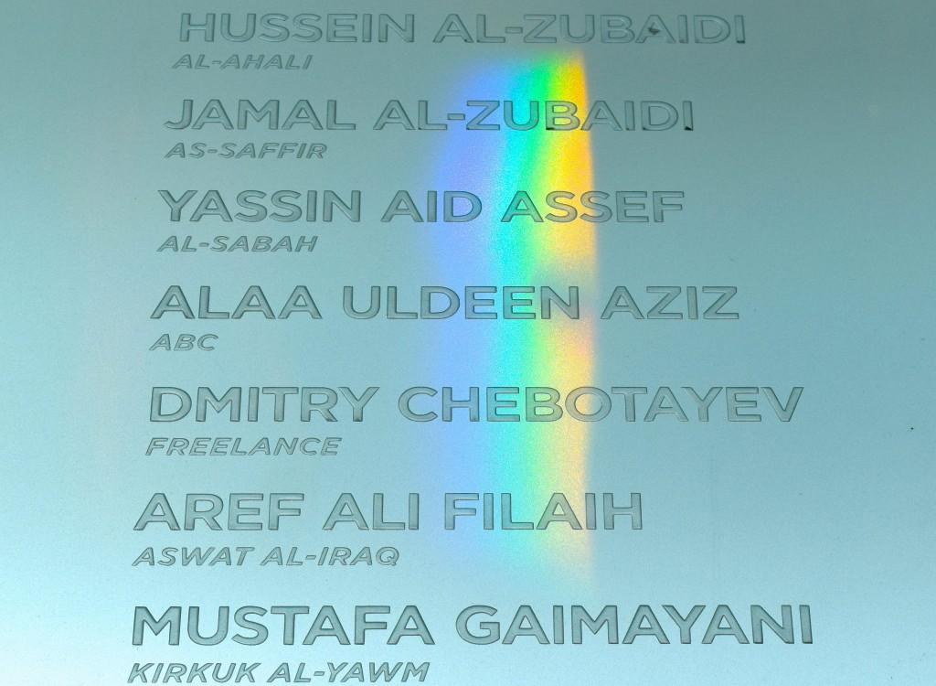 Nomes gravados de jornalistas assassinados