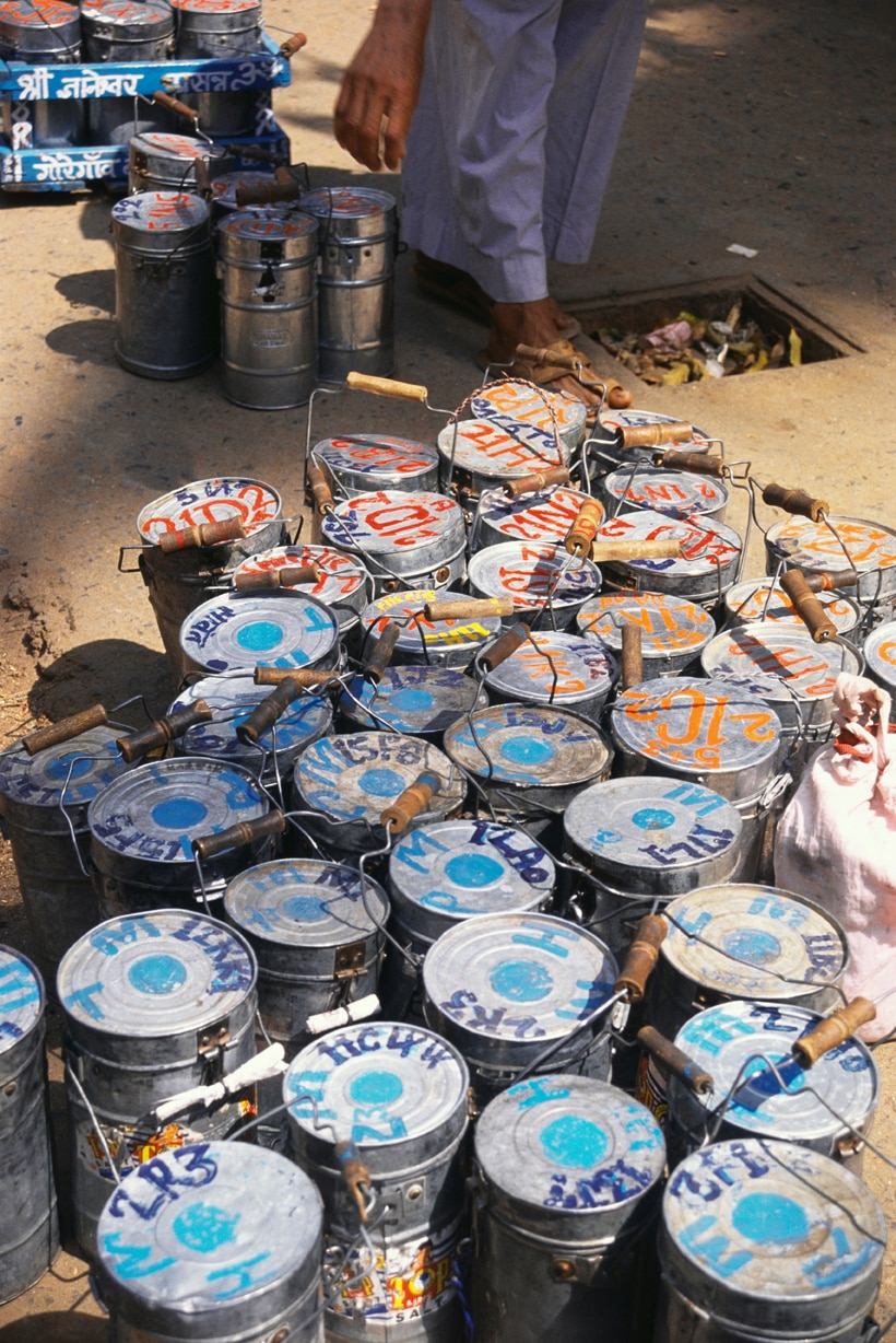 Dabbawala lunch boxes. (AP Images)