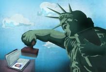 طرحی از مجسمه آزادی در حال مهر زدن بر یک گذرنامه (عکس از (وزارت امور خارجه/داگ تامسون)