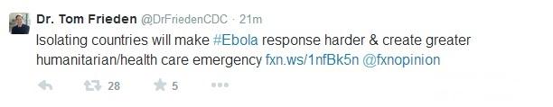 Tom Frieden's tweet on flights from West Africa