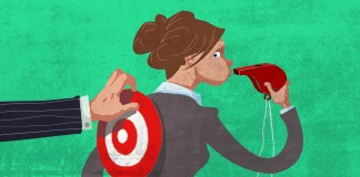 Illustration of woman blowing whistle with target on her back (State Dept./D. Thompson)