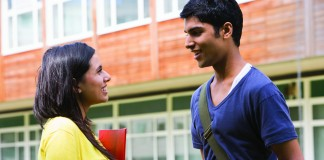 Two students talking after class (Hemera/Thinkstock)