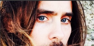 Close-up of Jared Leto with text '#HeForShe' (Courtesy photo)