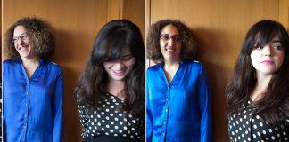 Three photos of writers Cynthia Edul and Natasha Tiniacos (State Dept./D.A. Peterson)