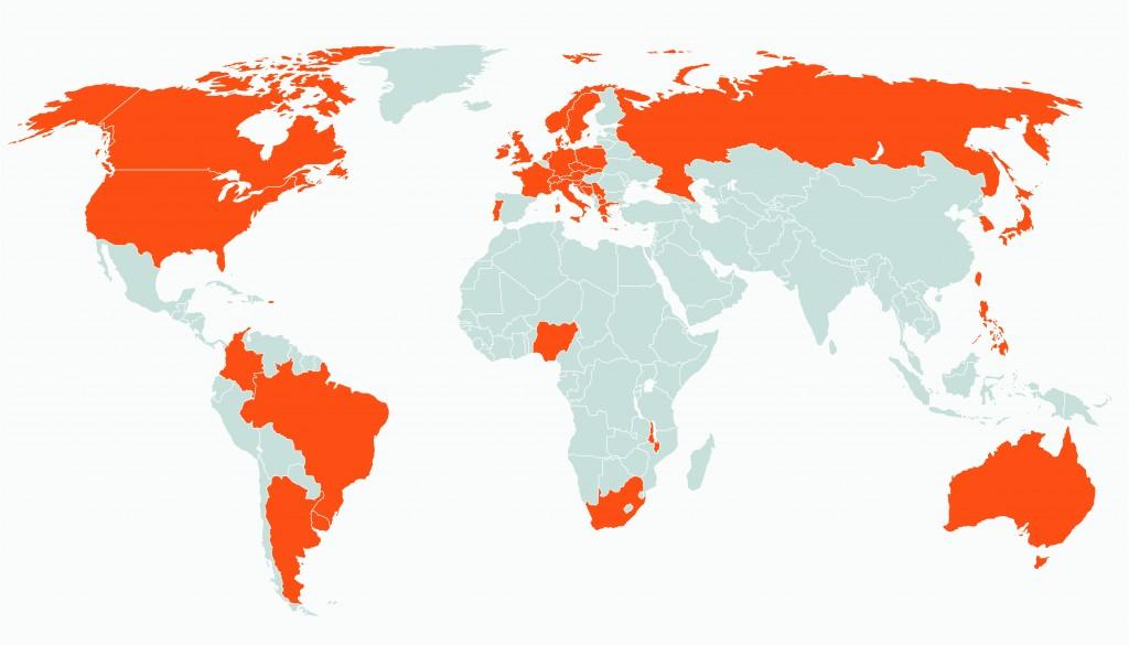 Carte du monde montrant les pays qui ont des journaux de rue (Département d'État)