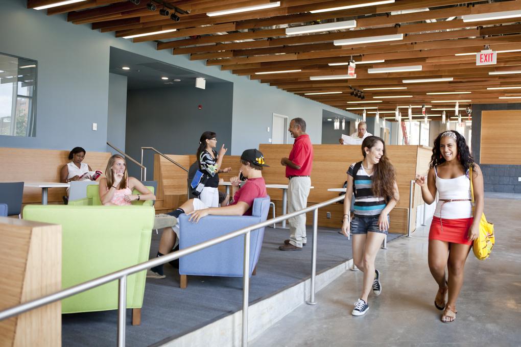 Students in common area (Gallaudet University)