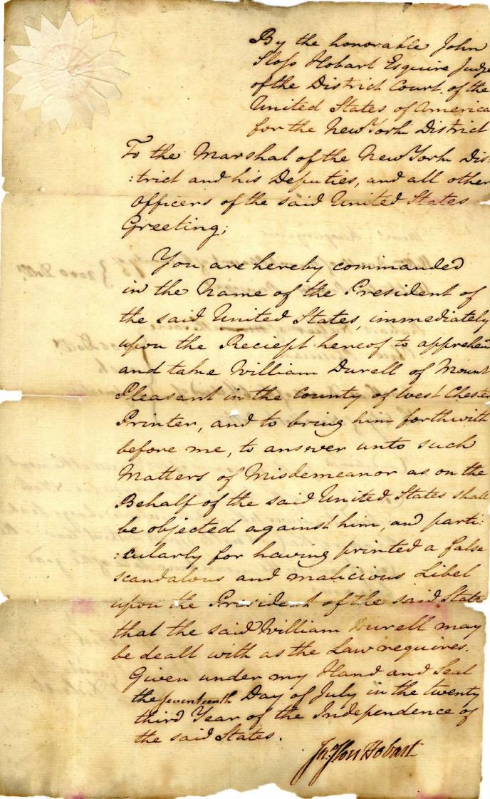 Une page de la Loi sur la sédition (Archives nationales)
