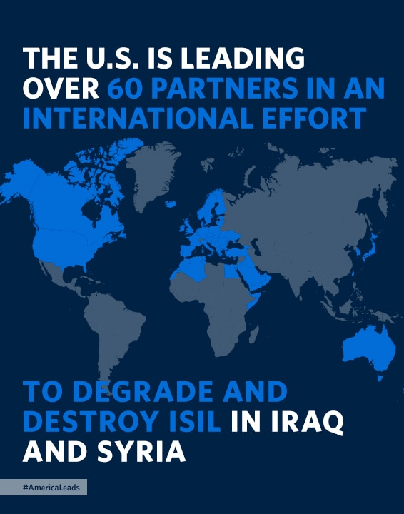 نقشه جهان کشورهای عضو ائتلاف بین المللی علیه داعش را نشان می دهد (عکس از کاخ سفید)