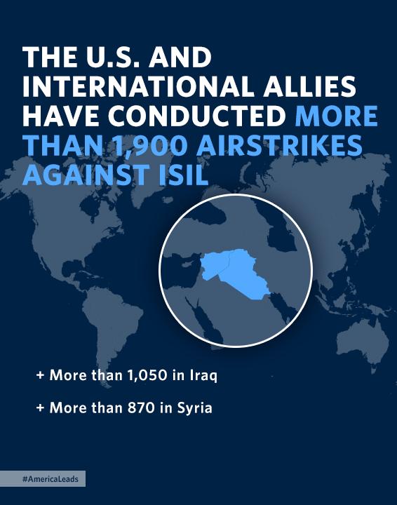 نقشه سوریه و عراق وتعداد حملات هوایی در هر کشور (عکس از کاخ سفید)