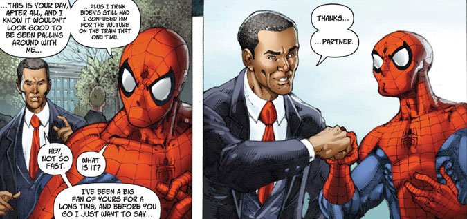 Deux scènes d'une B.D. avec Barack Obama et Spider-man (Flickr/teadrinker)