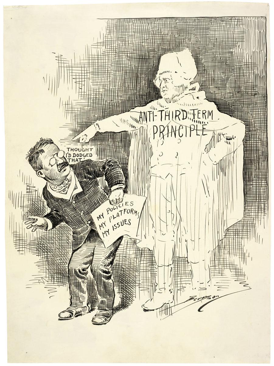 Caricature montrant le président Theodore Roosevelt et le spectre de George Washington. (Archives nationales)