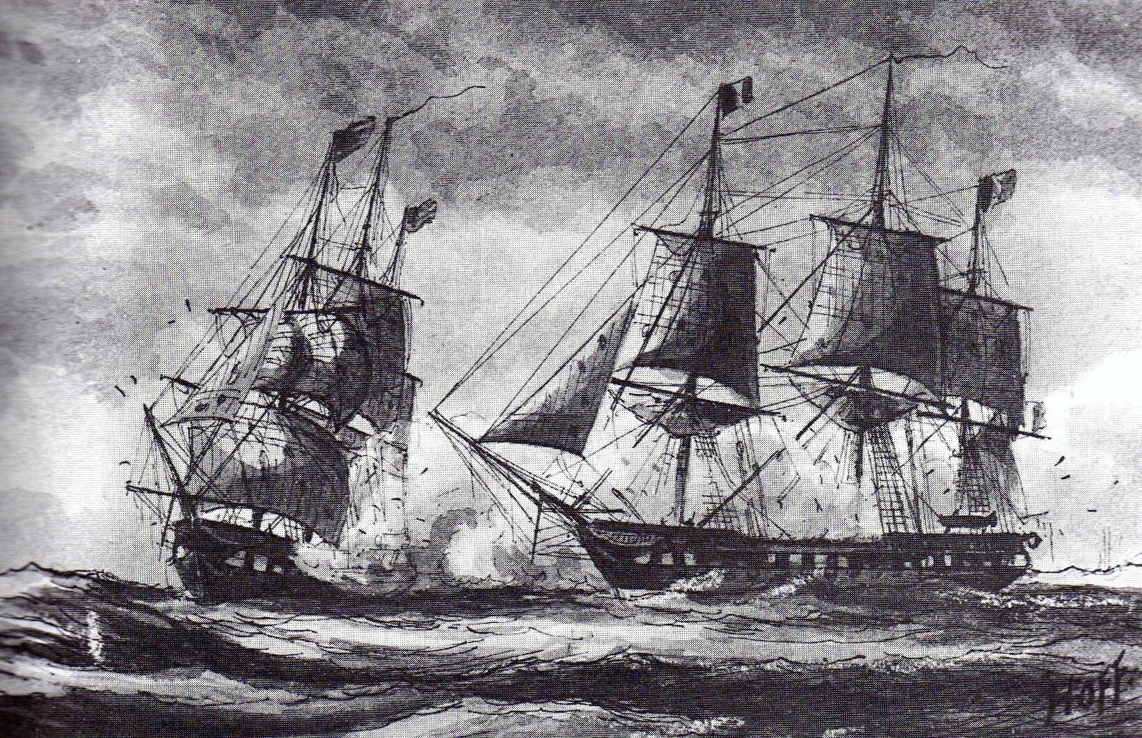 Dessin d'un combat naval (William Bainbridge Hoff/Creative Commons)