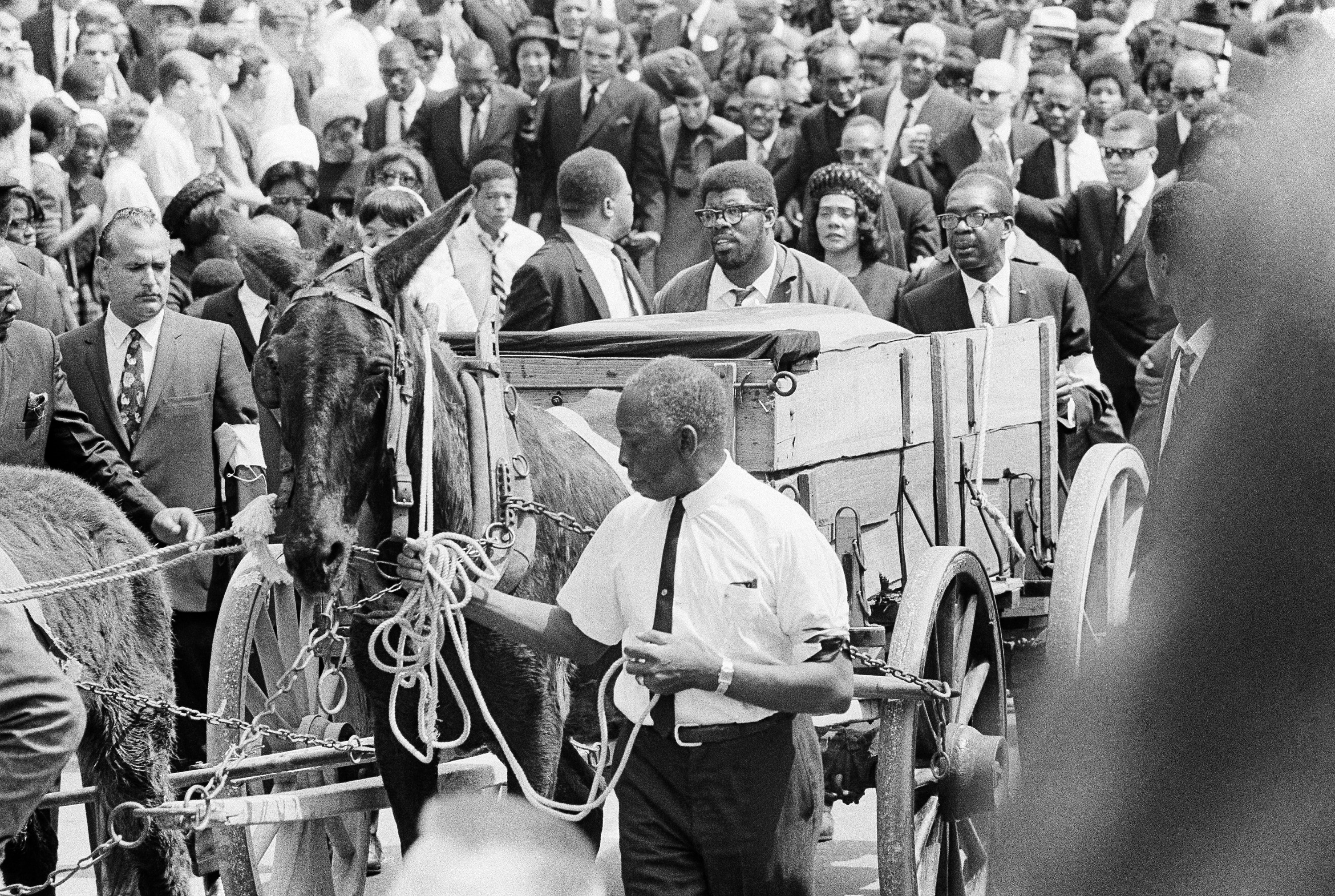 Martin Luther King's coffin in wagon amid crowd of mourners in street (© AP Images)