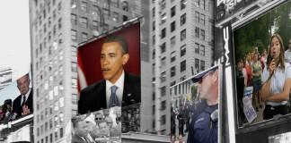 Photo montage : une vue de New York avec une grande image du président Obama au centre et des immeubles à l'arrière-plan (© AP Images)