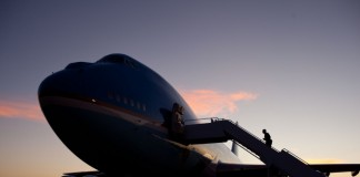 Aircraft at sunset (White House)