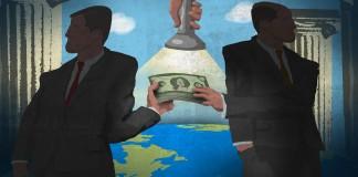 Ilustração indica dois homens envolvidos em atividade de corrupção enquanto a luz de uma lanterna aponta para dinheiro de suborno (Departamento de Estado/Doug Thompson)