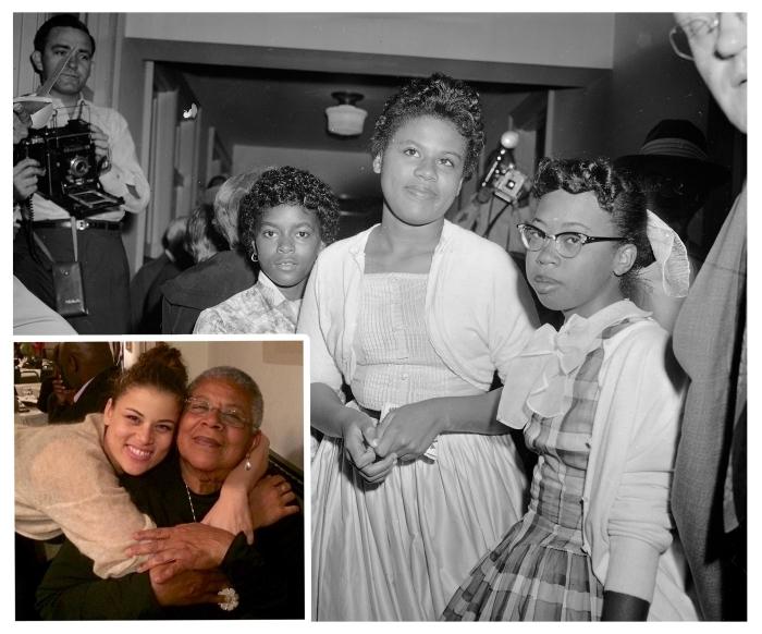 مينيجين براون تريكي (في الوسط) عام 1957 في المحكمة الأميركية في ليتل روك بولاية أركنسو، و(في المربع) مع ابنتها سبيريت تريكي (© AP Images/Inset: Spirit Trickey)