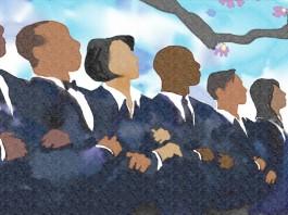 Dessin d'une rangée de personnes de différentes couleurs, serrées les unes contre les autres, bras dessus, bras dessous. (Département d'État / Doug Thompson)