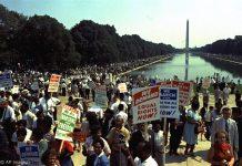 国家大草坪上的示威人群(© AP Images)