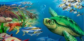 نقاشی از لاک پشت آبی و دیگر حیوانات دریایی (وزارت امور خارجه/طرح از لوری آنزالون)