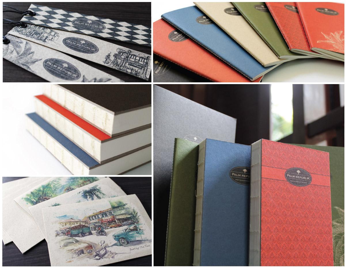 Cinq photos de divers produits en papier (avec l'aimable autorisation de Palm Republik)