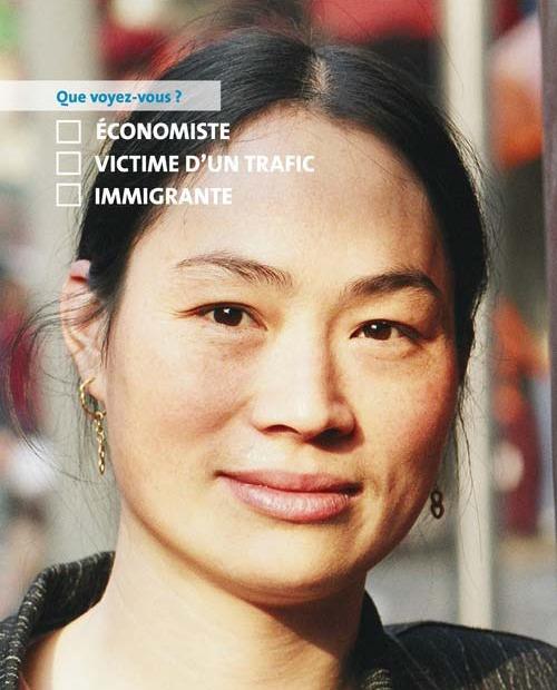 Poster de la campagne Je dis NON au racisme! de l'ONU montrant un gros plan d'une femme (ONU)