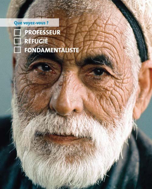 Poster de la campagne Je dis NON au racisme! de l'ONU montrant un gros plan d'un homme âgé (ONU)