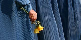 گل در دست یک فرد (عکس از آسوشیتدپرس)