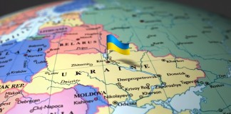 Map of Ukraine and surrounding region with flag (Shutterstock)