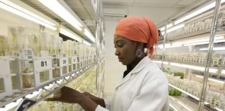 Une femme dans un laboratoire, en blouse blanche (© AP Images)
