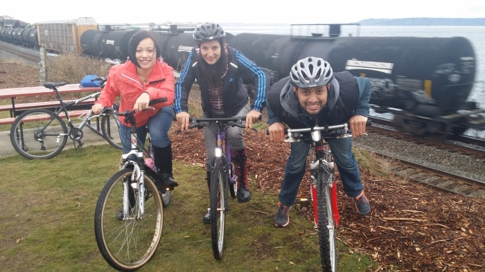 Fatima Bano (center) and friends embark on a bicycle adventure. (Courtesy Fatima Bano)