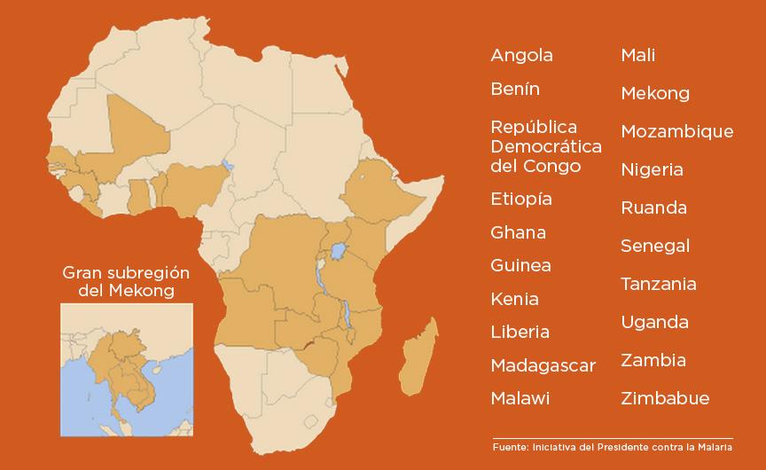 Mapas de África y del sudeste asiático muestran los países que reciben la ayuda contra la malaria (Iniciativa Presidencial contra la Malaria)