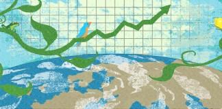 Illustration montrant des plantes, un graphique financier et la courbure de la terre, (Département d'État/Doug Thompson)