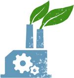 Illustration comprenant une usine avec des feuilles de plantes sortant de cheminées (Département d'État/Doug Thompson)