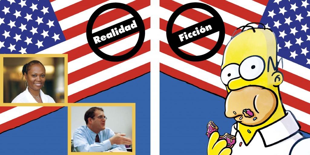 Gráfico con fotos de estadounidenses a la izquierda y un personaje de dibujos animados a la derecha (Depto. de Estado)