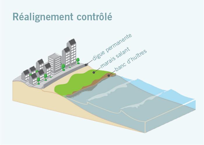 Graphique montrant diverses mesures de protection, dites de réalignement contrôlé, contre la montée des eaux (digue permanente, marais salant, banc d'huîtres) - (Adapté d'images de la NOAA)