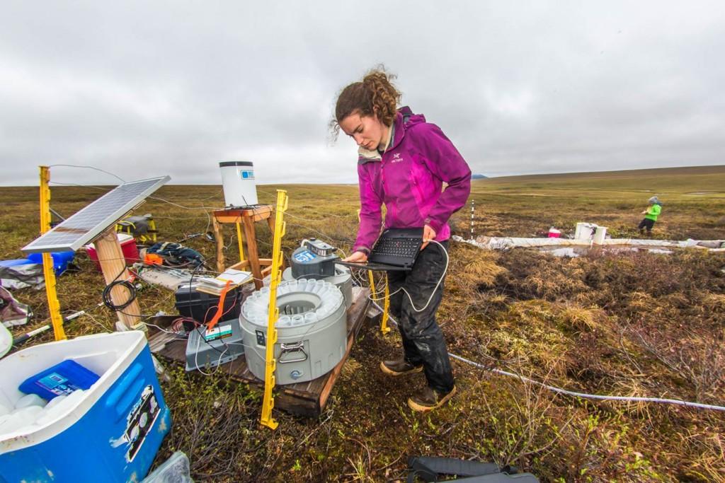 Une femme avec des instruments scientifiques dans un champ (UAF/Todd Paris)