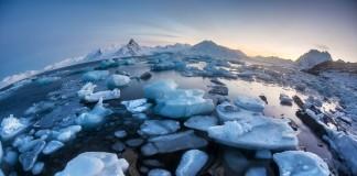 broken sea ice through fisheye lens