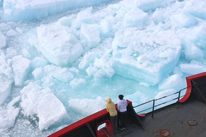 دو مسافر کشتی به قطعات بزرگ یخ نگاه می کنند. (NASA/ K. Hansen)