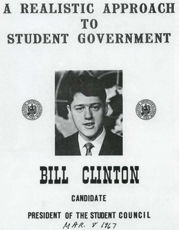 L'affiche de la campagne de 1967 pour la présidence du conseil d'étudiants de l'université de Georgetown du futur président Bill Clinton (Wikimedia Commons)