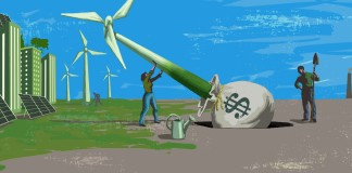 تصویر دو نفر که در حال نصب توربین بادی هستند. (وزارت امور خارجه/ داگ تامپسون)