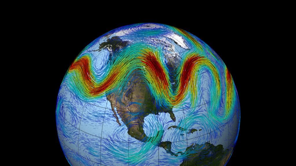 نقاشی از زمین که جریان نوسانی وزانه جت استریم را نشان می دهد (NASA/GSFC)
